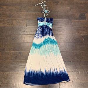Cynthia Rowley blue tie dye maxi dress S